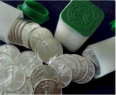 Silver Eagle Silver dollar coins in U.S. Mint rolls - Picture